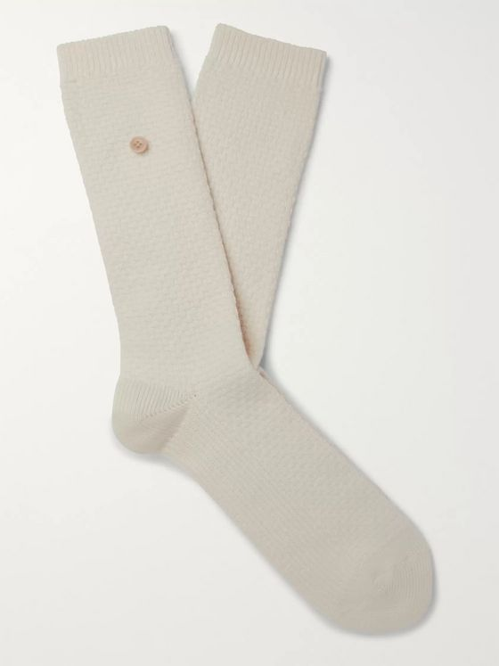 Folk Button-Detailed Waffle-Knit Organic Cotton-Blend Socks