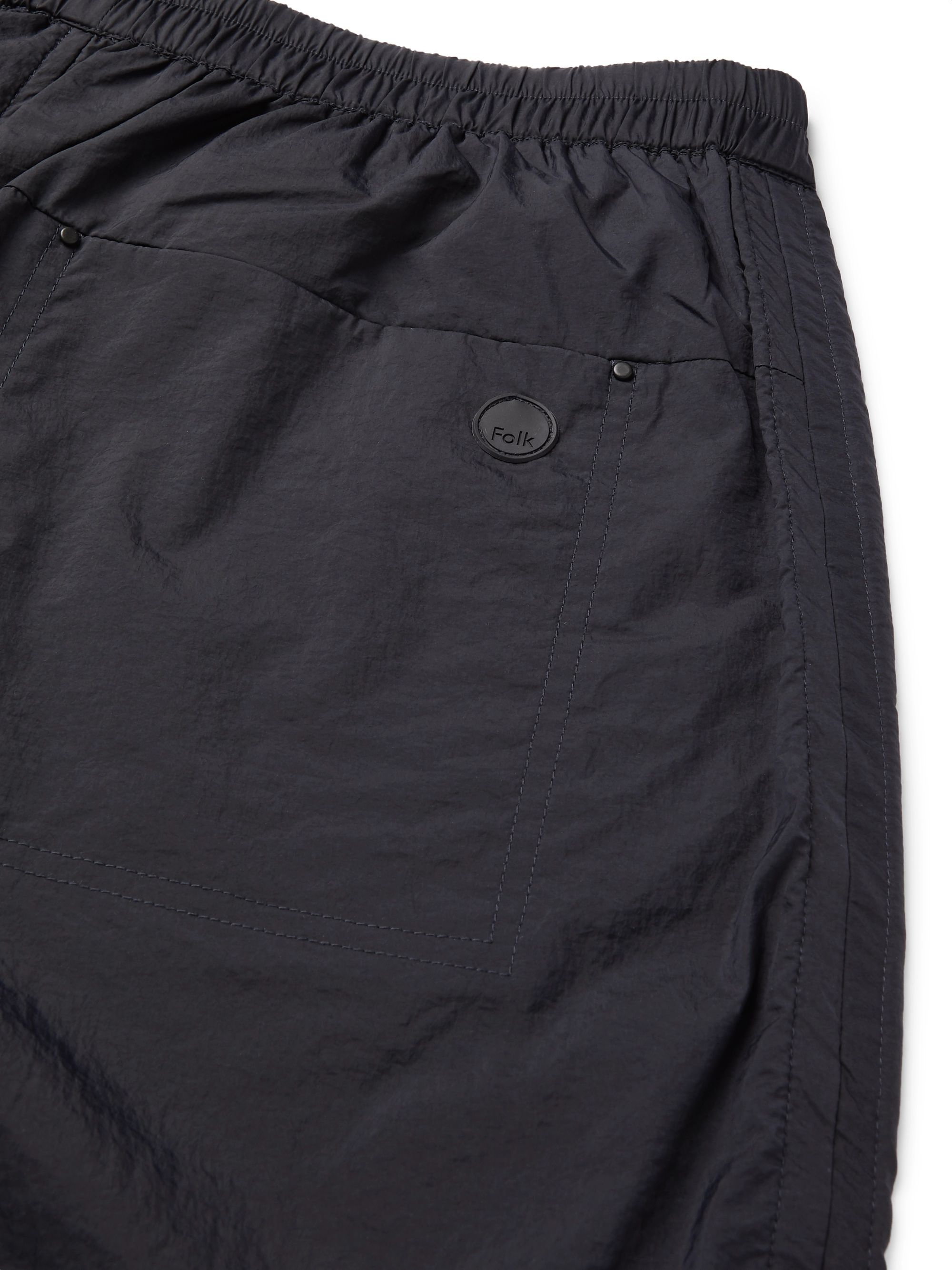 Navy Logo-appliquéd Nylon Shorts | Folk