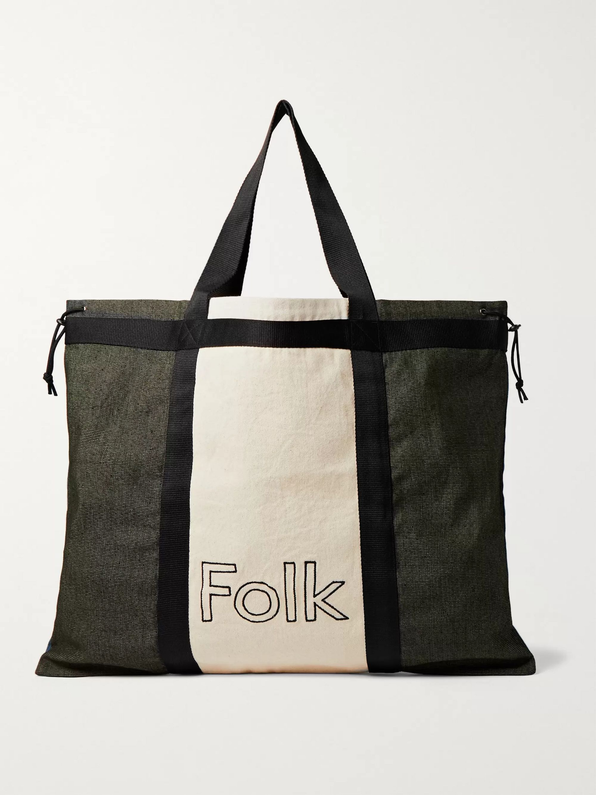 Folk Logo-Embroidered Colour-Block Canvas Tote Bag