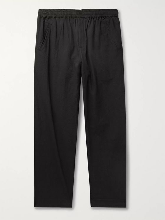 Folk Assembly Cropped Crinkled-Cotton Trousers