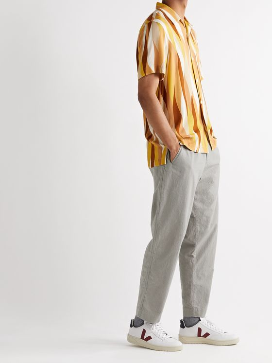 Folk Assembly Tapered Crinkled-Cotton Trousers