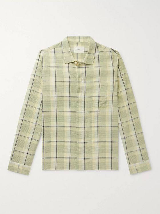 Folk Patch Checked Cotton Shirt