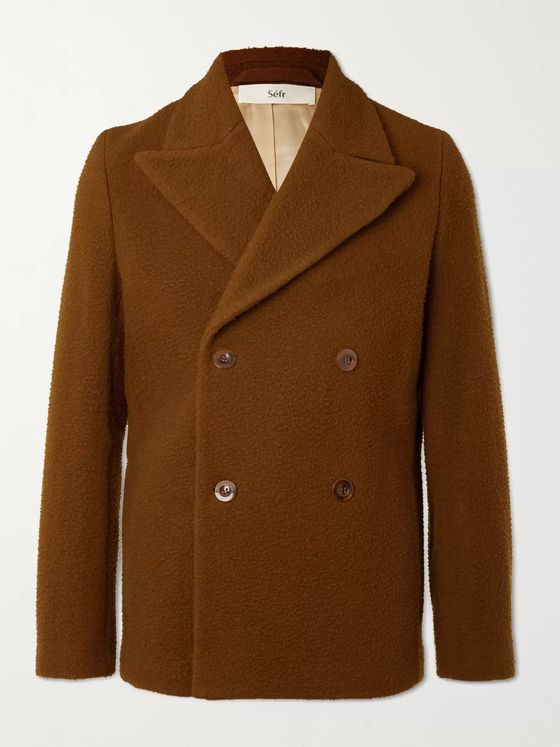 Séfr Hamra Double-Breasted Brushed Virgin Wool-Blend Jacket