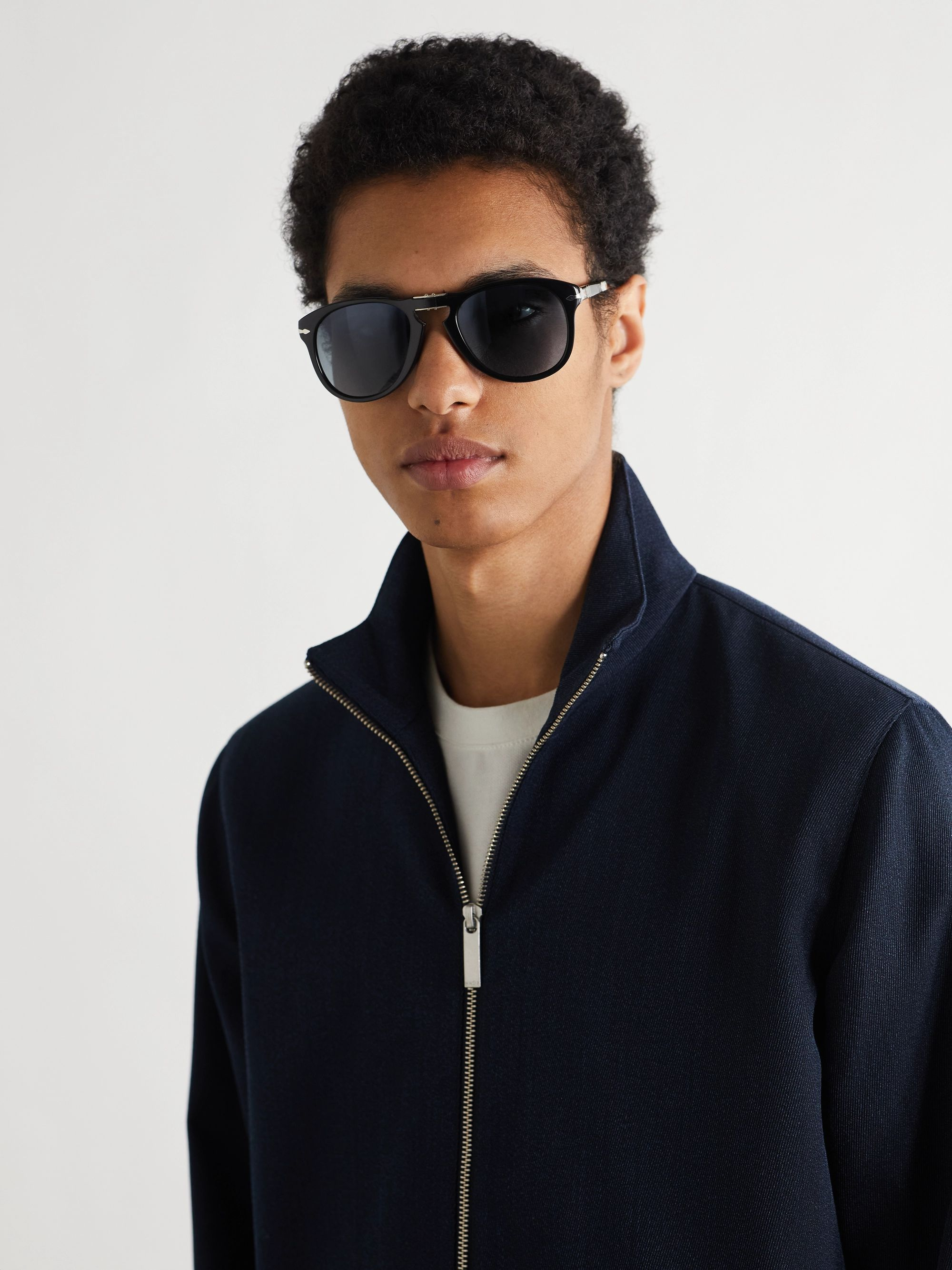 Persol Aviator-Style Acetate Folding Sunglasses