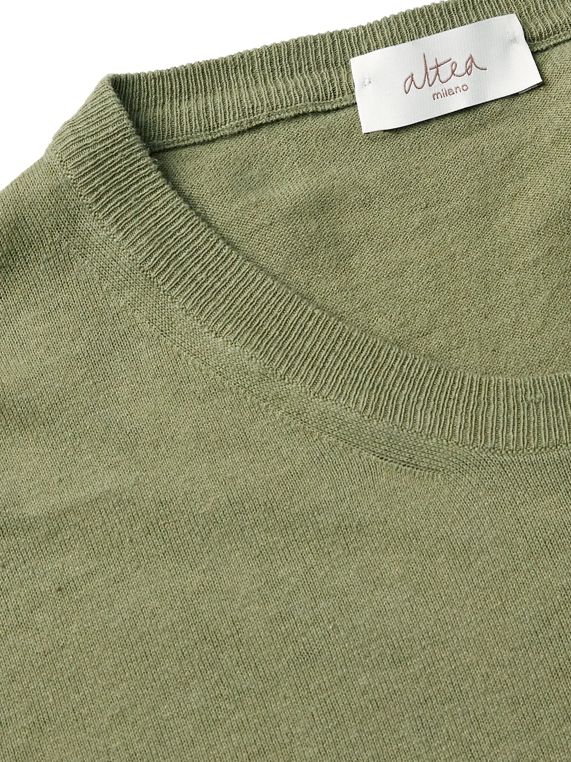 Army Green Linen And Cotton-blend Sweater | Altea
