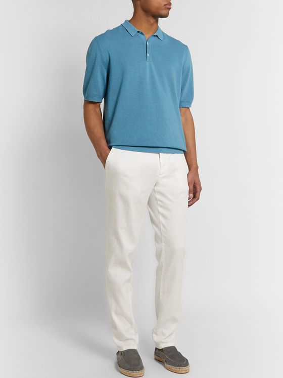 Altea Textured Linen and Cotton-Blend Polo Shirt