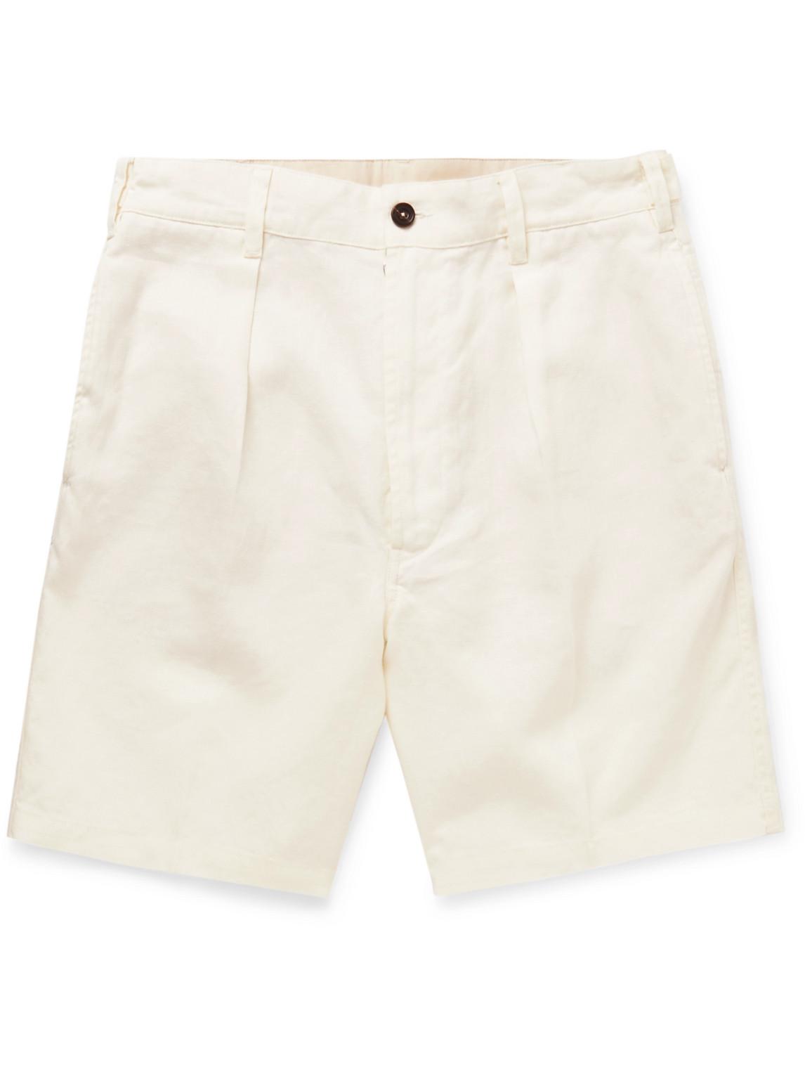 Drake's - Slim-Fit Pleated Linen Shorts - Men - White - Uk/Us 38