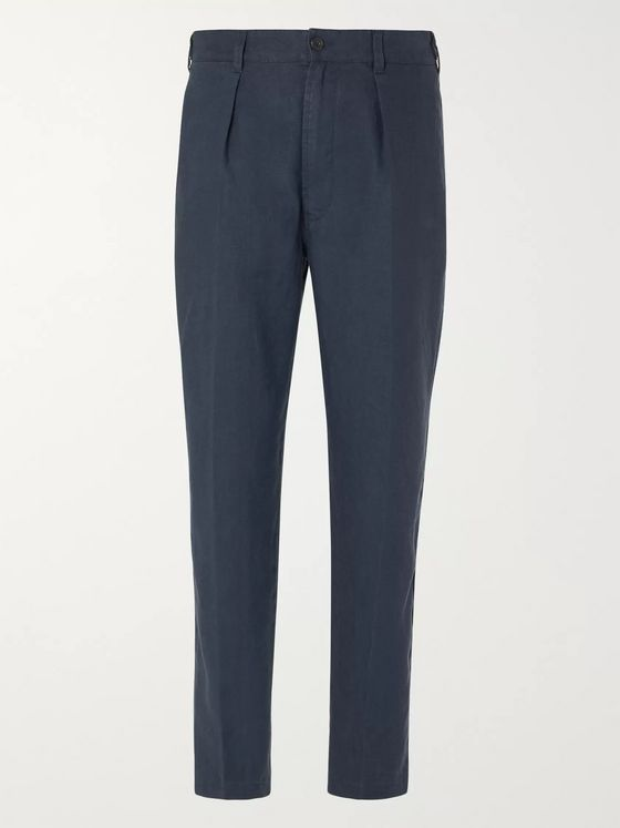 Drake's Pleated Linen Suit Trousers