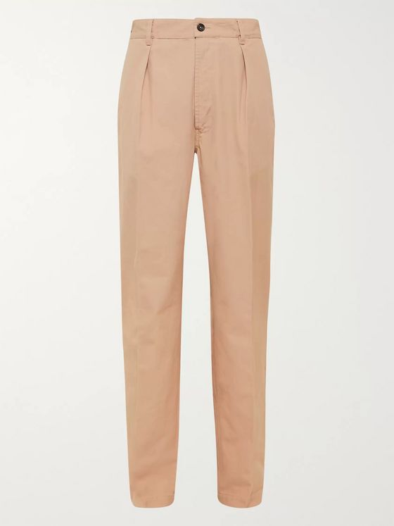 Drake's Pleated Cotton Suit Trousers