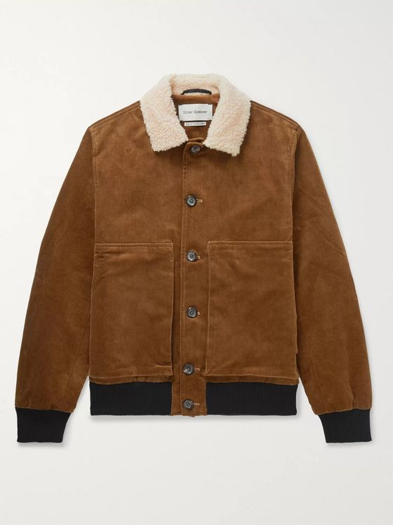 Oliver Spencer Linfield Faux Shearling-Trimmed Cotton-Blend Corduroy Bomber Jacket