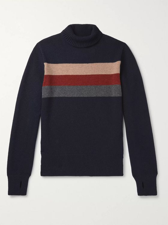 Oliver Spencer Talbot Striped Virgin Wool Rollneck Sweater