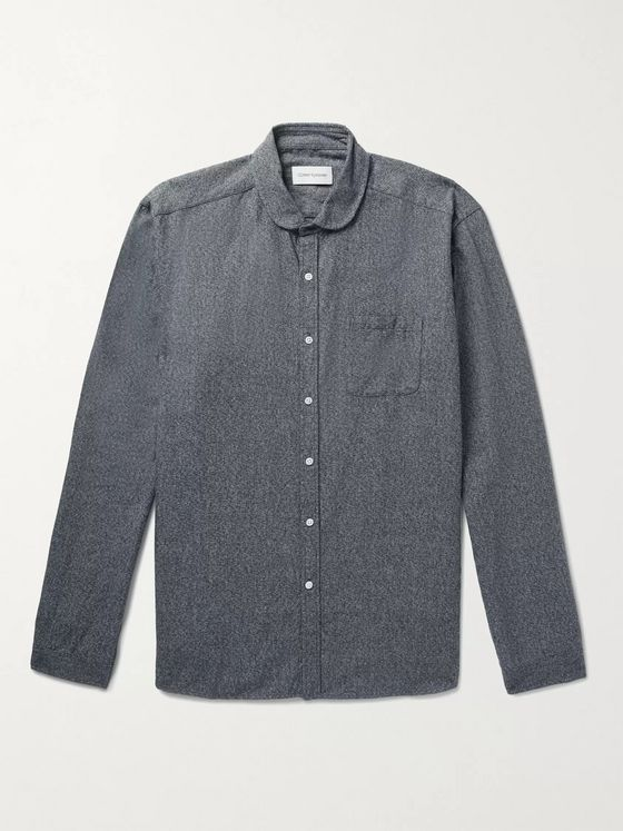 Oliver Spencer Eton Penny-Collar Mélange Cotton Shirt
