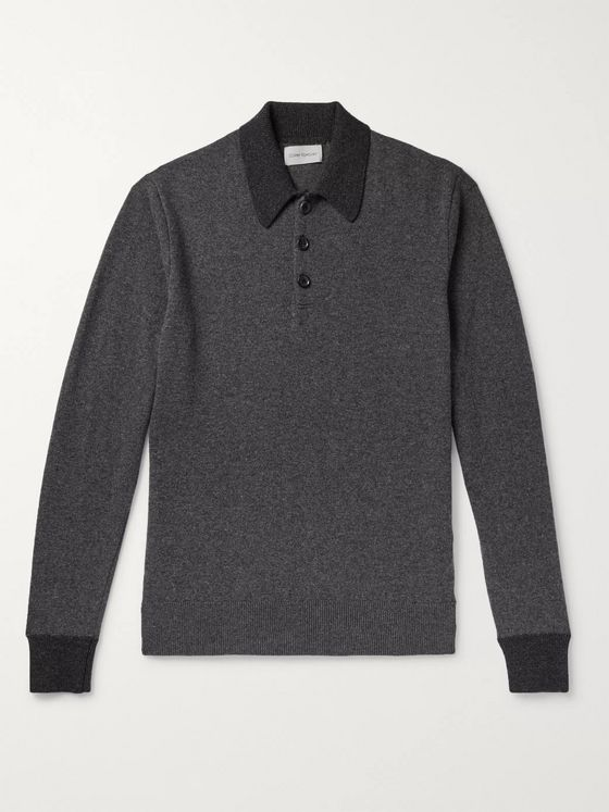 Oliver Spencer Pablo Two-Tone Mélange Virgin Wool Polo Shirt