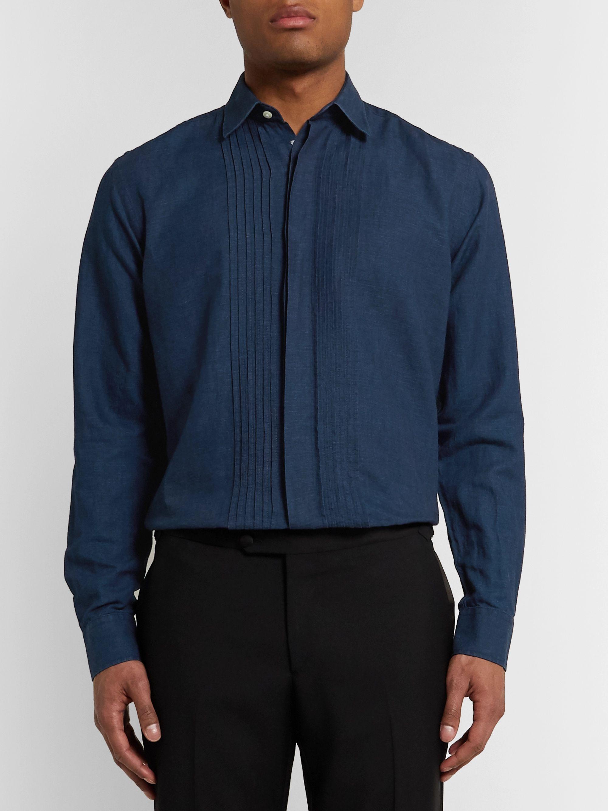 Indigo Bib-front Cotton And Linen-blend Shirt | Favourbrook