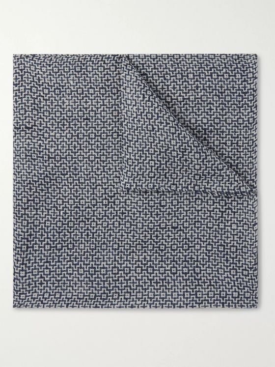 Favourbrook Halton Cotton, Linen and Silk-Blend Jacquard Pocket Square
