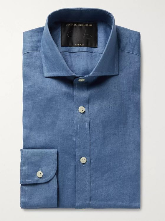 Favourbrook Slim-Fit Cutaway-Collar Slub Linen Shirt