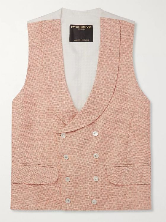 Favourbrook Slim-Fit Double-Breasted Linen-Jacquard Waistcoat