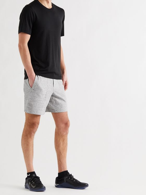 LULULEMON At Ease Mélange Textured Cotton-Blend Drawstring Shorts