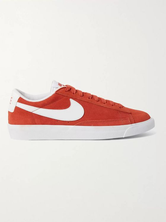 Nike Blazer Leather-Trimmed Suede Sneakers