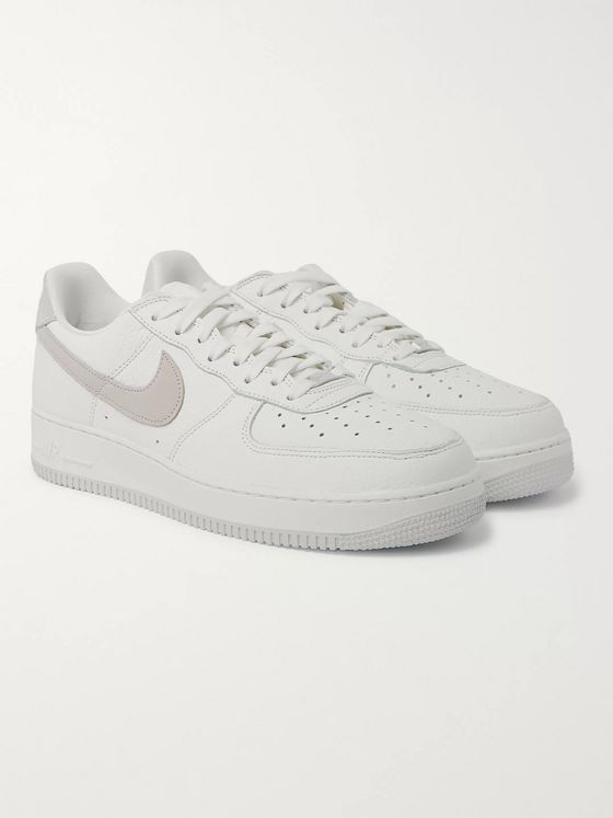 Nike Air Force 1 07 Suede-Trimmed Full-Grain Leather Sneakers