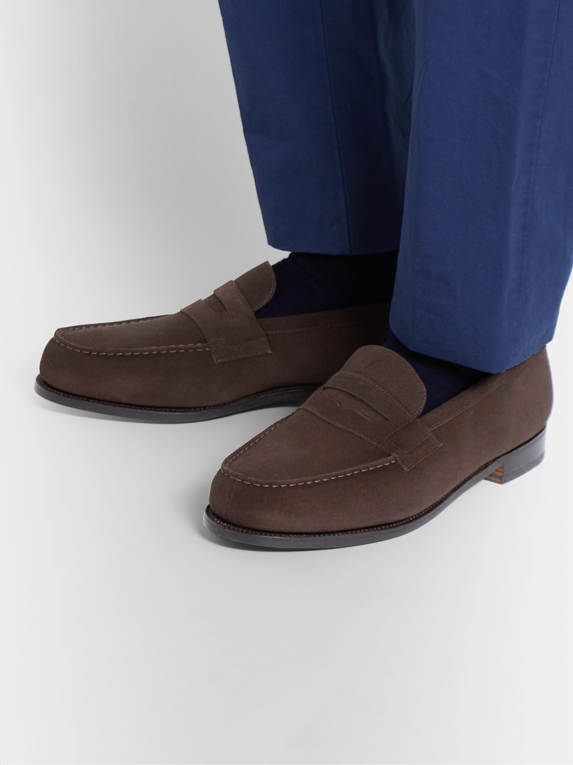 J.M. Weston 180 Moccasin Suede Loafers
