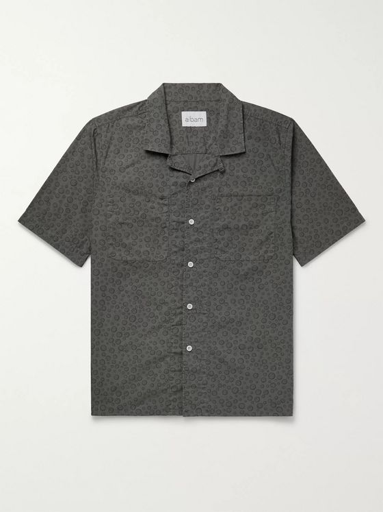 Albam Camp-Collar Printed Cotton-Poplin Shirt