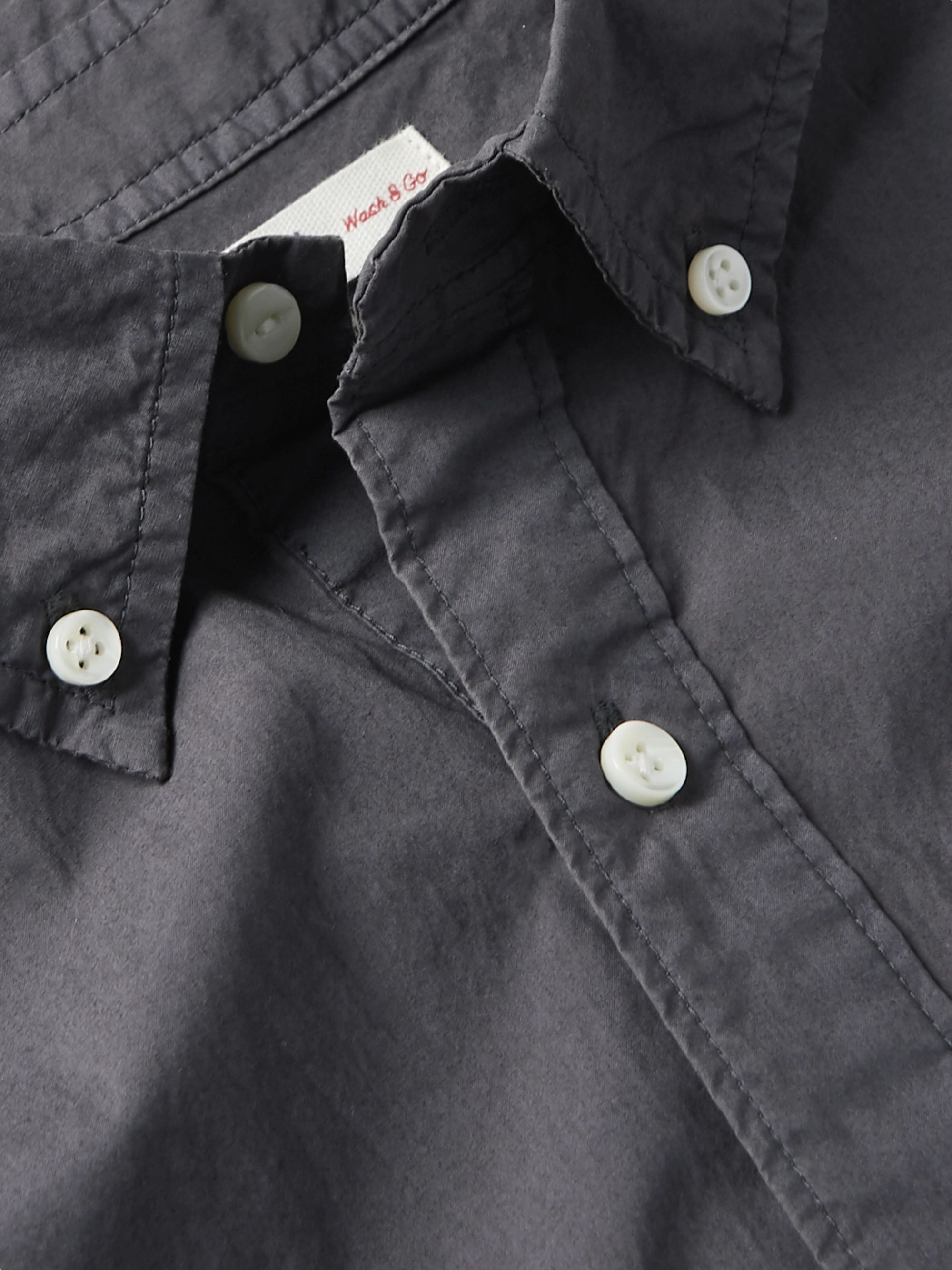 Black Button-down Collar Cotton Half-placket Shirt | Alex Mill