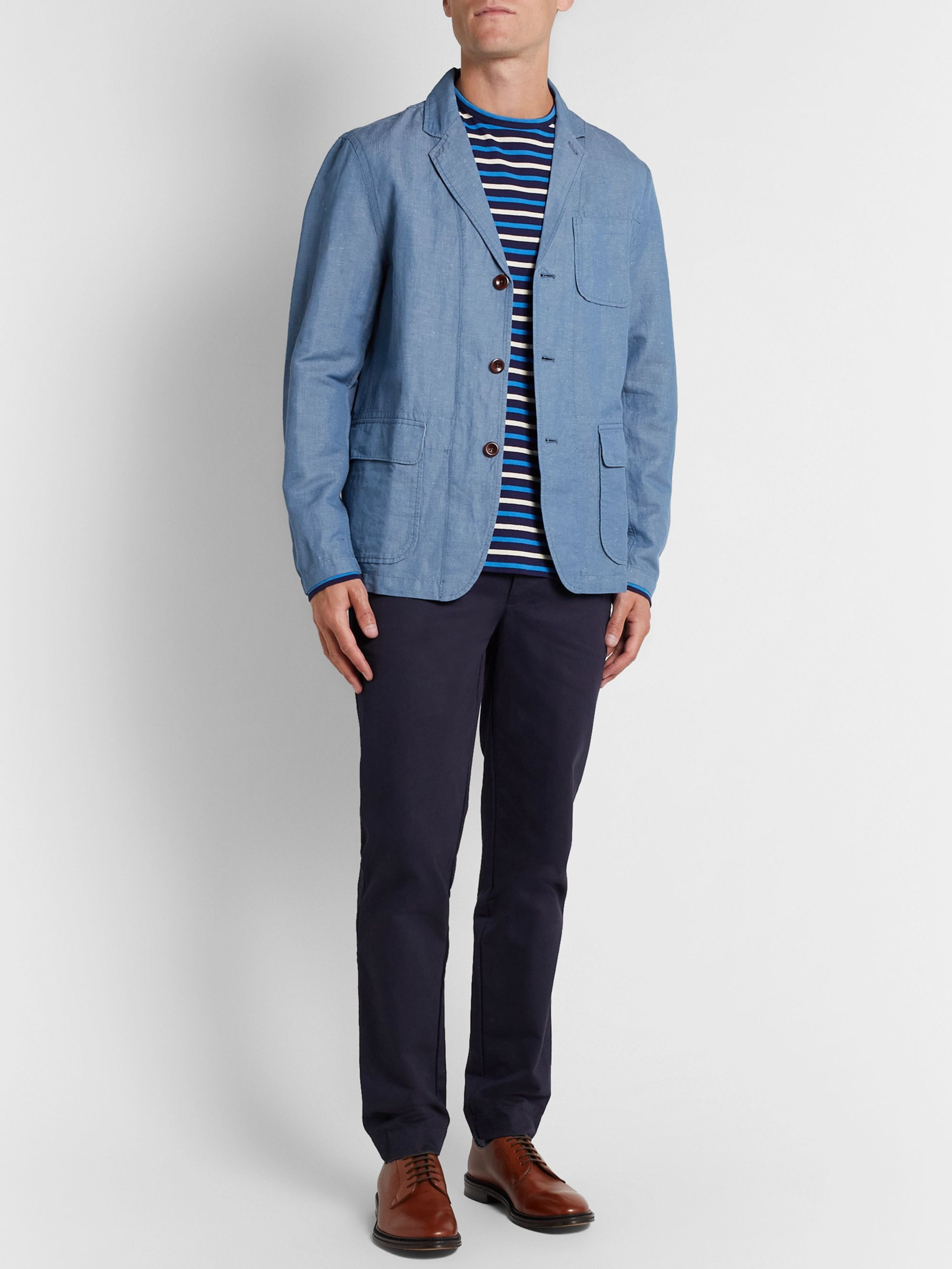 Alex Mill Unstructured Herringbone Linen and Cotton-Blend Chambray Blazer