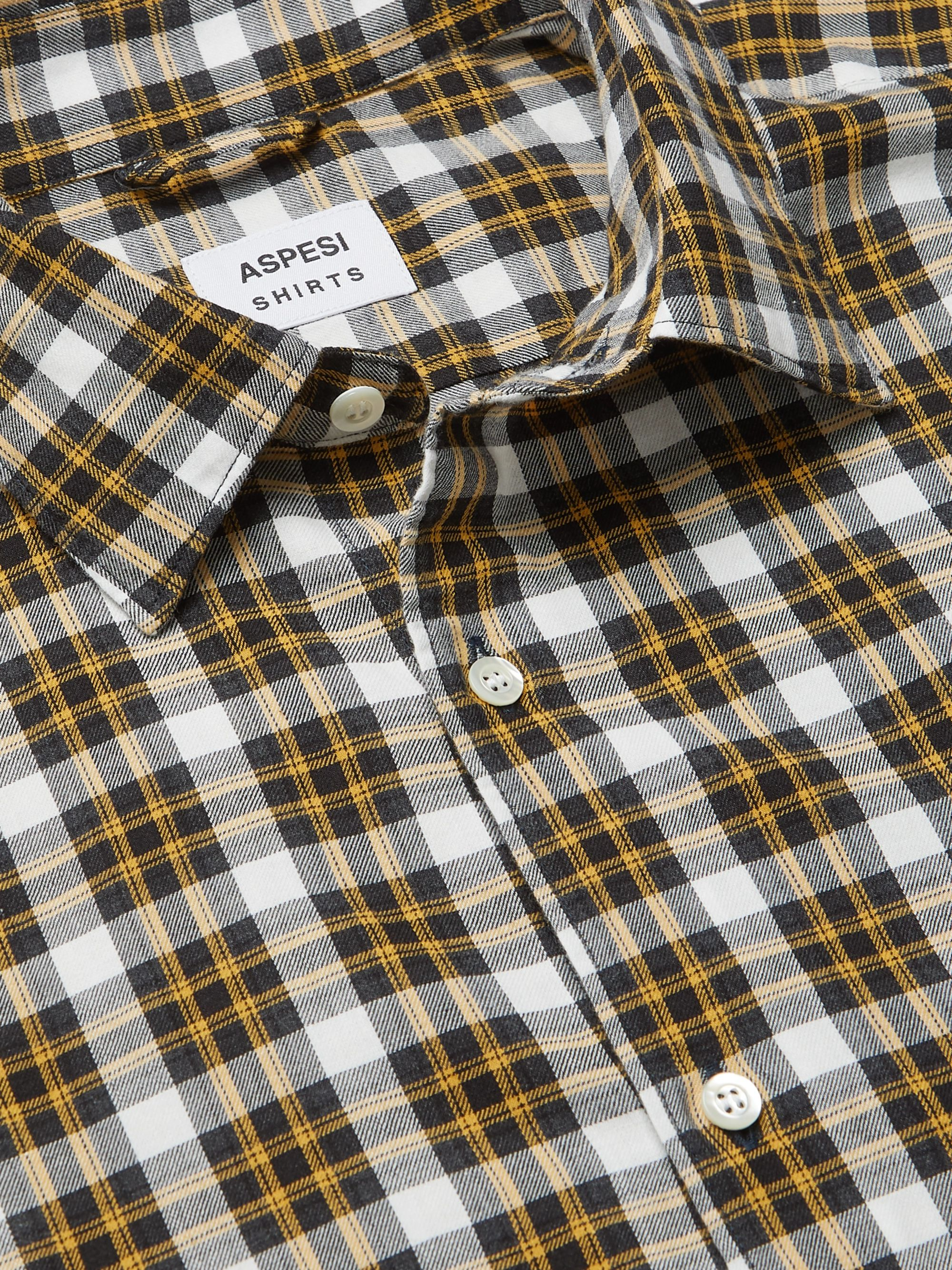 Yellow Gingham Cotton Shirt | Aspesi