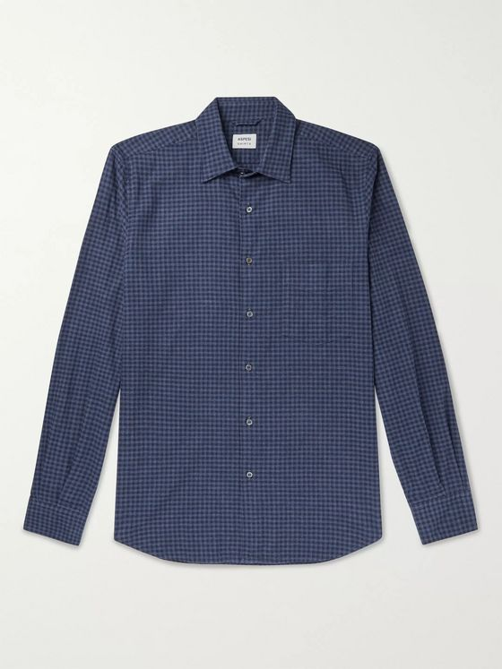 Aspesi Checked Cotton-Flannel Shirt