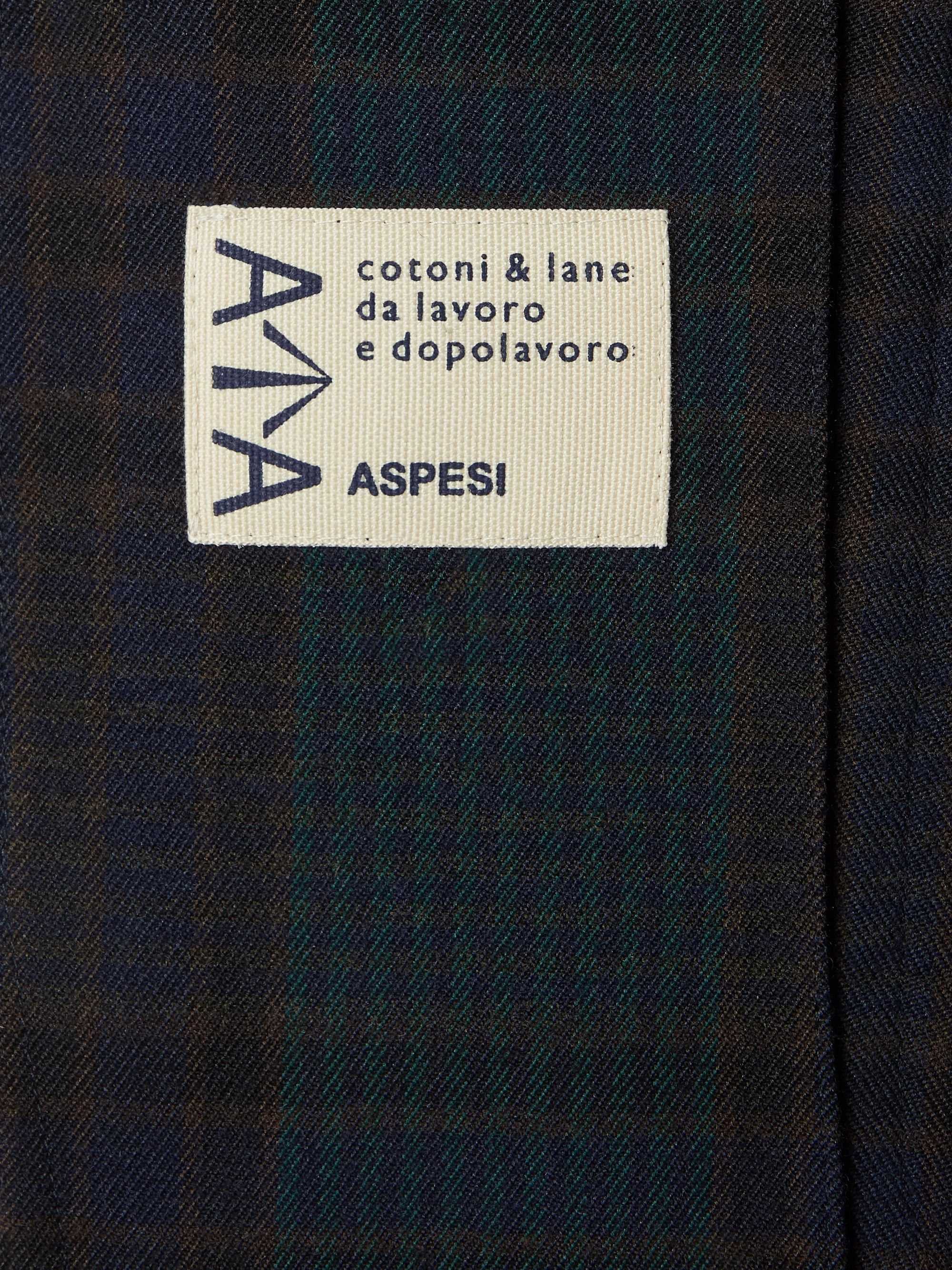 Navy Unstructured Checked Twill Blazer | Aspesi
