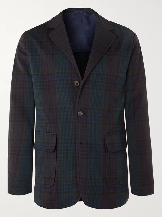 Aspesi Unstructured Checked Twill Blazer