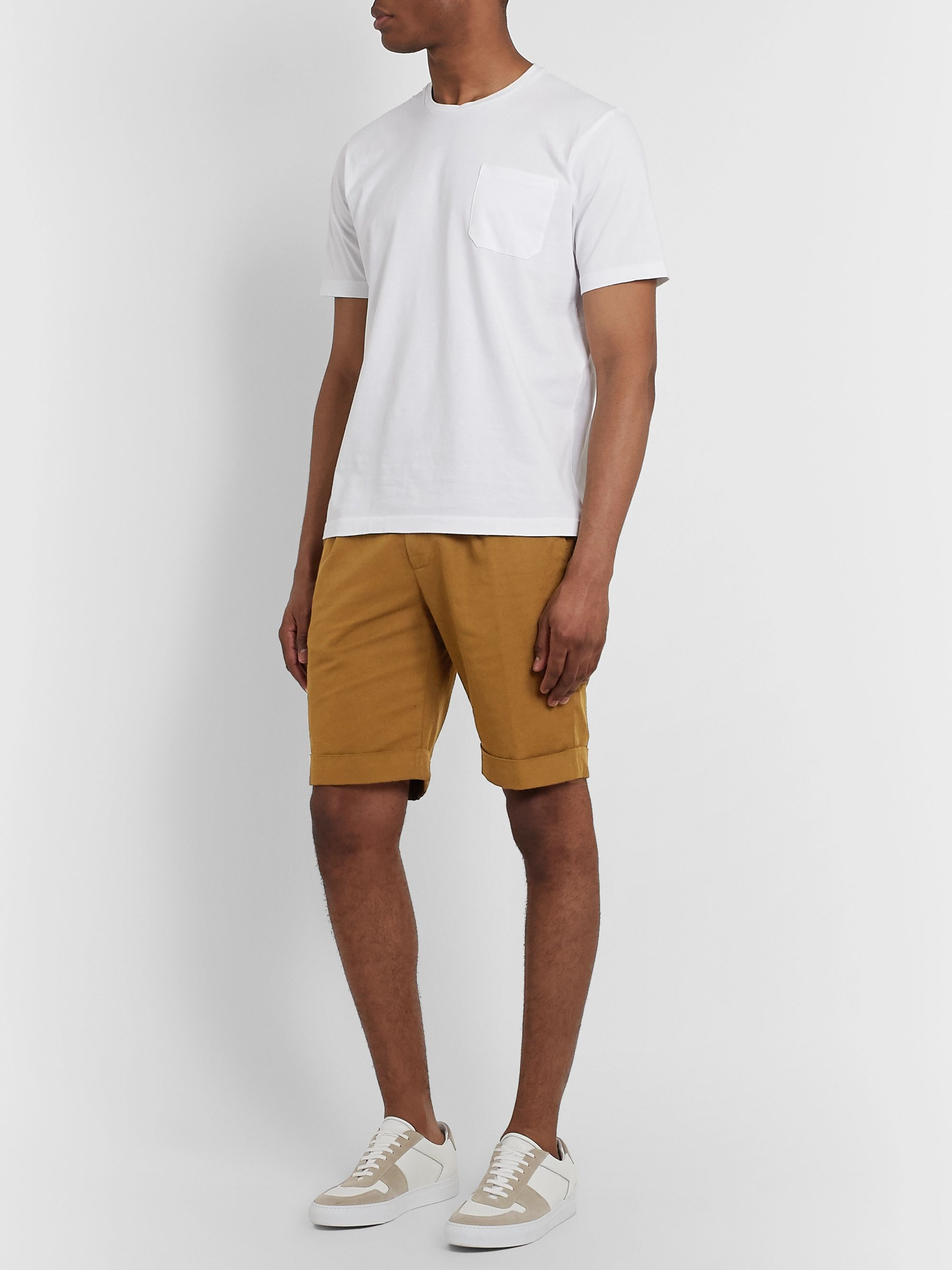 Aspesi Slim-Fit Pleated Cotton and Linen-Blend Shorts