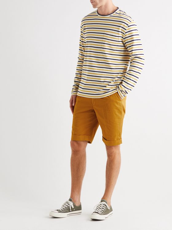 Aspesi Slim-Fit Pleated Cotton-Twill Chino Shorts