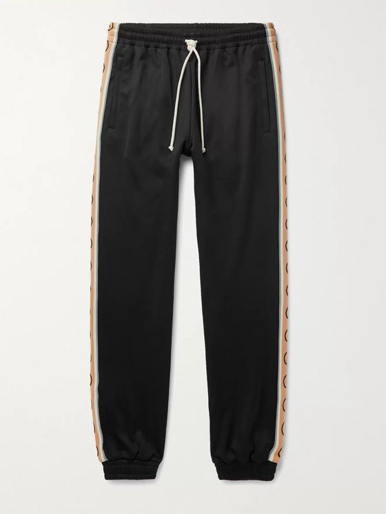 Gucci Slim-Fit Logo-Jacquard Webbing-Trimmed Tech-Jersey Track Pants