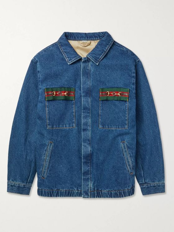 GUCCI Oversized Embellished Webbing-Trimmed Denim Jacket