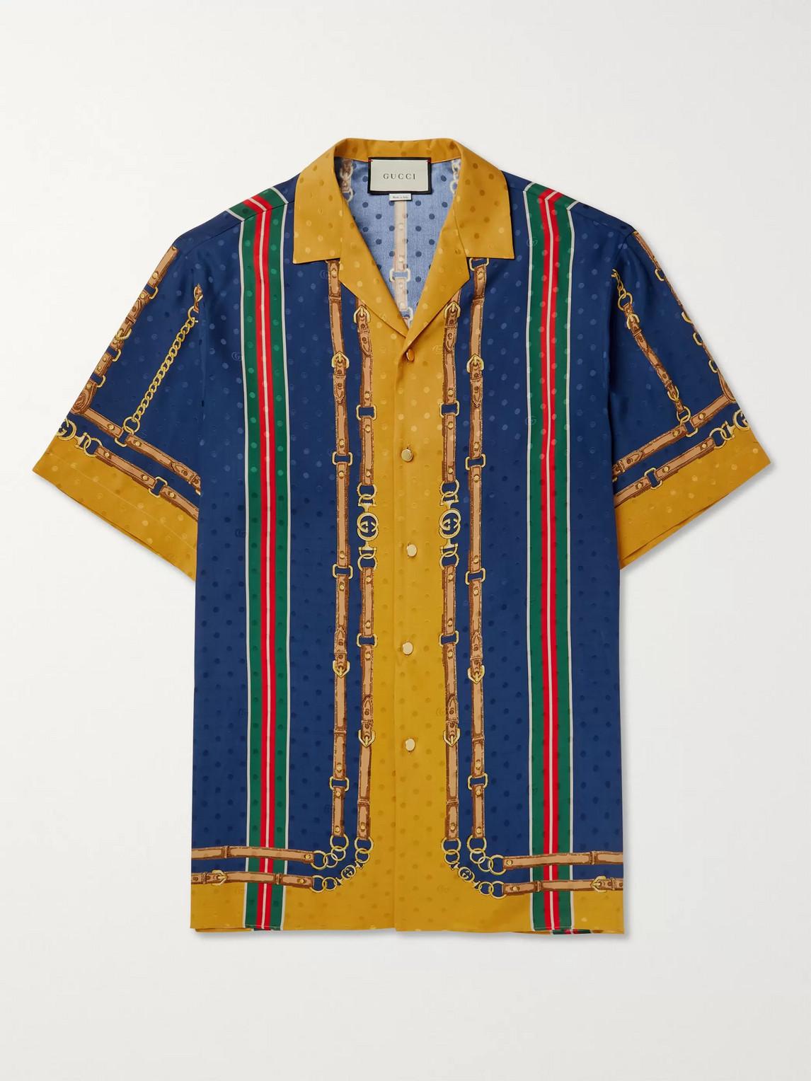 Gucci Camp-collar Printed Silk-jacquard Shirt In Multi