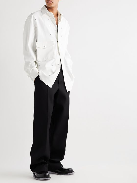 BOTTEGA VENETA Oversized Embellished Stretch-Cotton Oxford Shirt