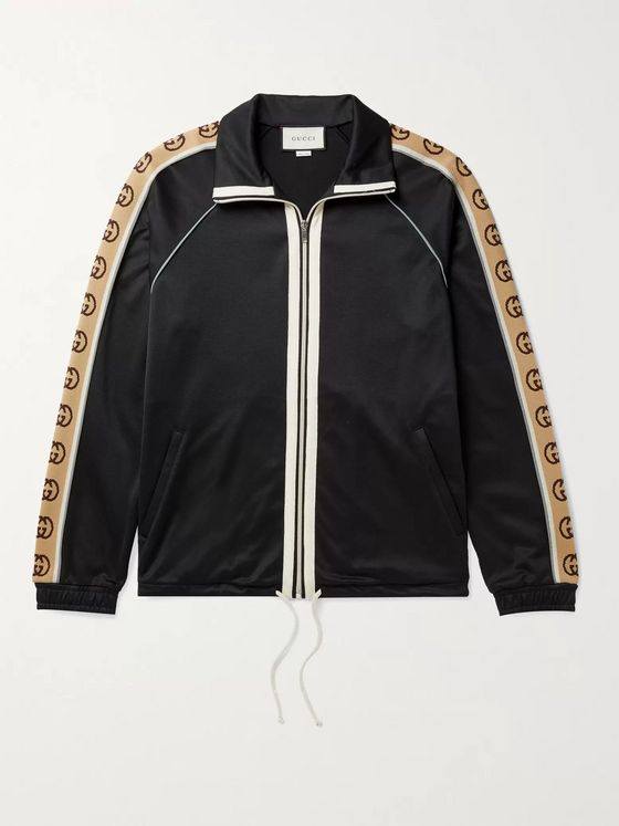GUCCI Logo-Jacquard Webbing-Trimmed Tech-Jersey Track Jacket