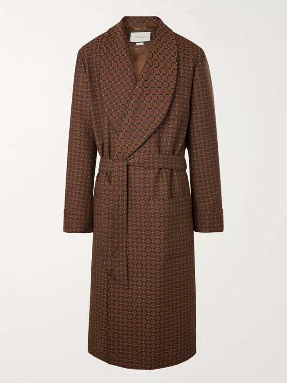 GUCCI Shawl-Collar Belted Piped Logo-Jacquard Twill Coat