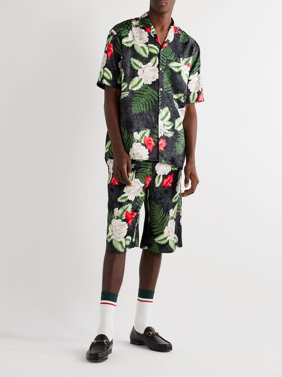 Gucci Camp-Collar Floral-Print Satin-Jacquard Shirt