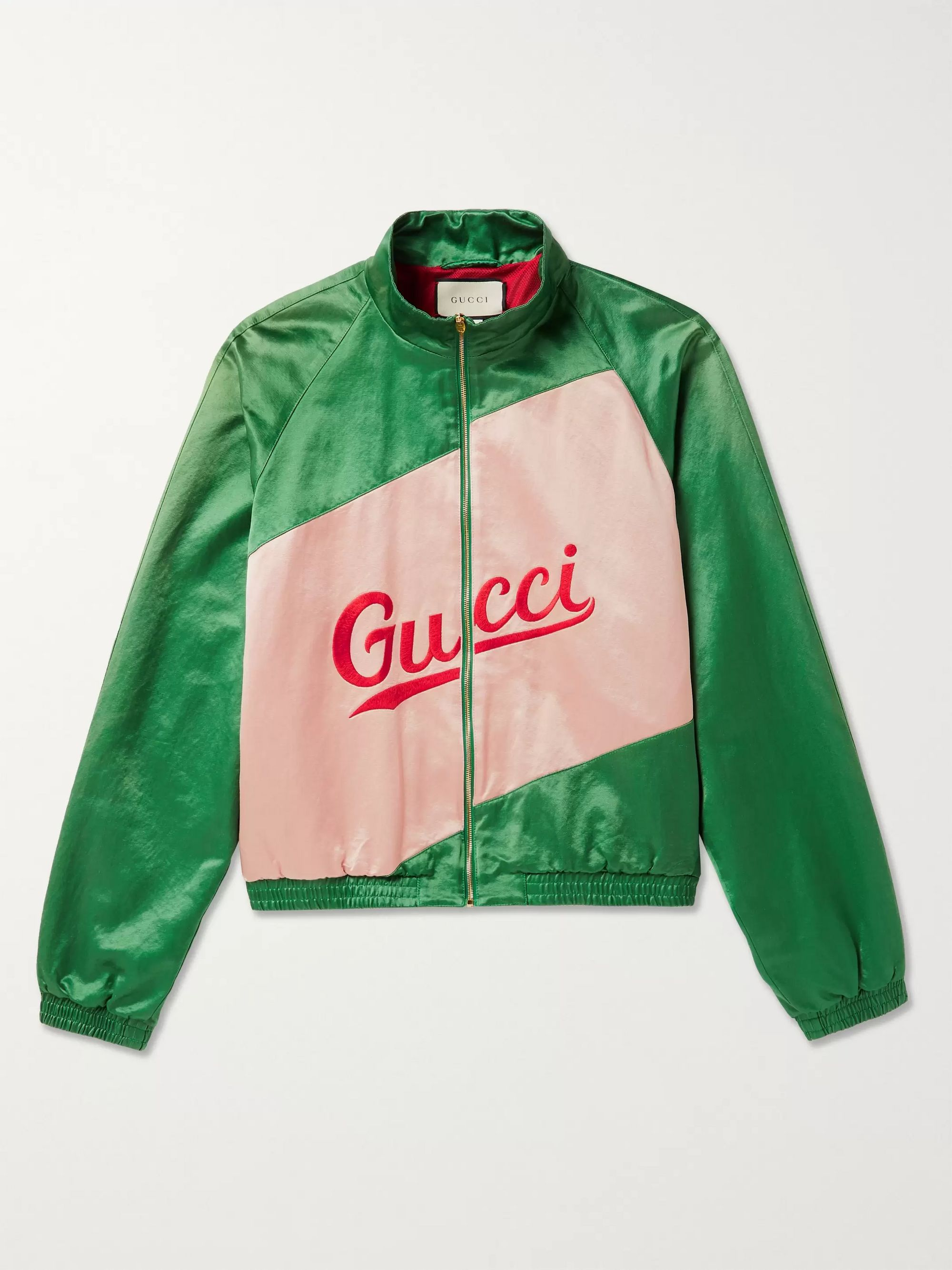 Gucci Logo-Embroidered Panelled Satin Track Jacket
