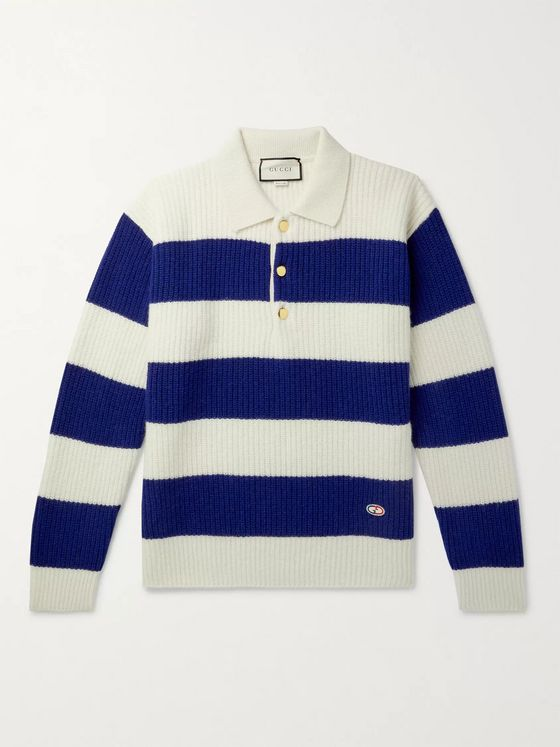 GUCCI Logo-Appliquéd Striped Wool Sweater