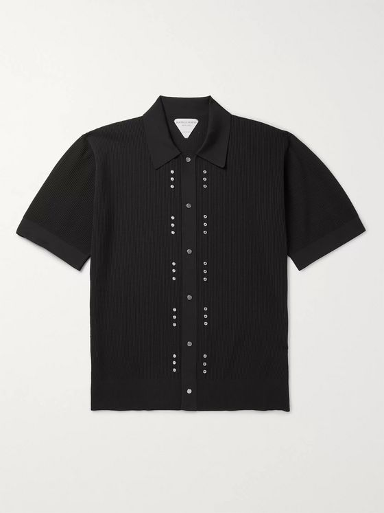 BOTTEGA VENETA Stud-Embellished Cotton-Piqué Polo Shirt