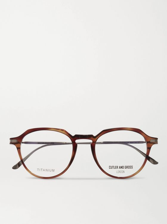 Cutler and Gross Round-Frame Tortoiseshell Acetate and Titanium Optical Glasses