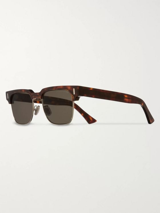 Cutler and Gross Square-Frame Acetate and Gold-Tone Sunglasses