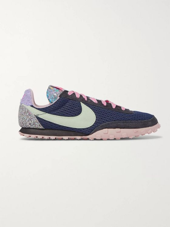 Nike Waffle Racer Mesh and Suede Sneakers