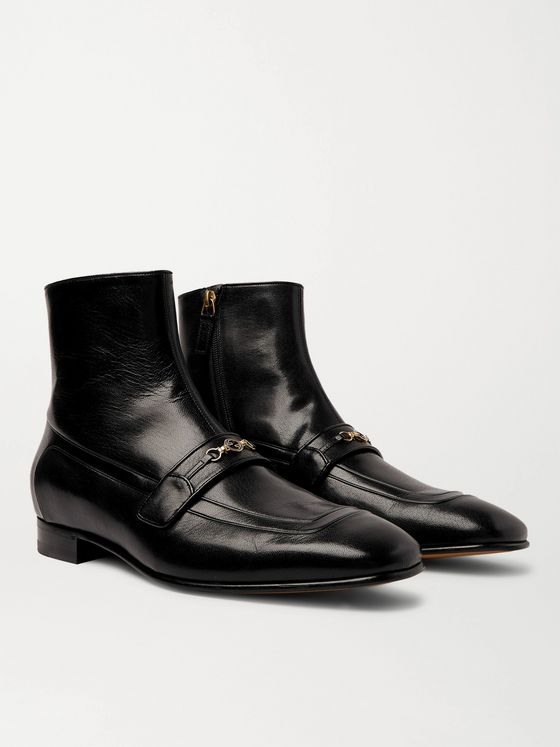 Gucci Dracma Horsebit Leather Boots