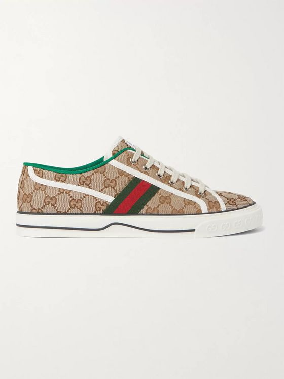 GUCCI Tennis 1977 Webbing-Trimmed Logo-Jacquard Canvas Sneakers