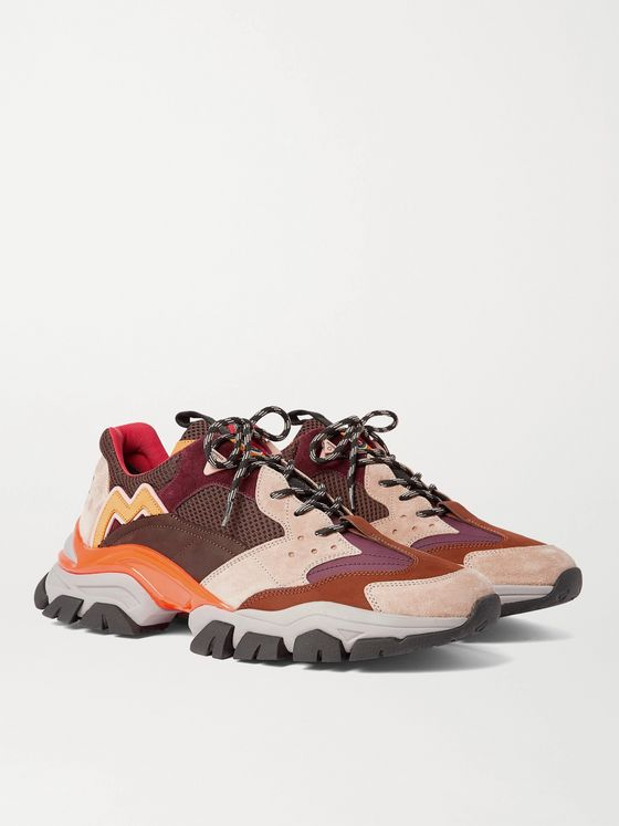 MONCLER Leave No Trace Leather, Suede and Mesh Sneakers